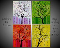 XLarge Huge Abstract Contemporary Tree Painting Four Seasons Quadtych Tetraptych Canvas Art Modern 20x64 JMichael