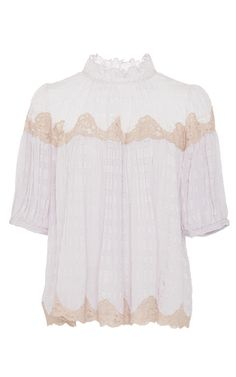 Short Sleeve Clip Mix Top by REBECCA TAYLOR for Preorder on Moda Operandi