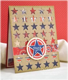 Thankful for All They Gave. . . PTI Military Stars and Military Hero stamp sets, with Bo Bunny patterned paper behind a PTI Stars Cover Plate die. Blog Post is here: http://debbiedesigns.typepad.com/muse_and_amuse/2014/05/thankful-for-all-they-gave-.html
