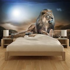 azutura Majestic Lion Wall Mural Safari Animal Photo Wallpaper Kids Bedroom Home Decor available in 8 Sizes Gigantic Digital 3d Wallpaper Mural, 3d Wall Murals, Kids Room Wallpaper, Photo Wallpaper, Lion Wall Art, Tree Wall Art, Lion Art, Cat Aesthetic, Butterfly Wall Art