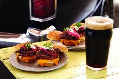 Stout-Braised Shredded Beef Sliders with Horseradish Cream & Pickled Onions recipe | DRAFT Magazine