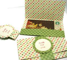 Gift Card Set Hand Stamped Polka Dots And Checks by Loustudio, $5.00
