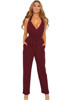 be6a16233c3 Chicloth Burgundy Halter V Neck Zipped Front Jumpsuit.  DungareesOverallsElsaRompers WomenGirls ...
