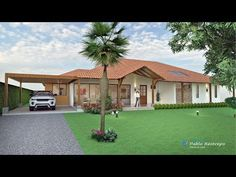 Wecome to the Video Player - mobile version. Mediterranean Homes Exterior, Hacienda Homes, Flat Roof House, House Construction Plan, Modern Bungalow House, House Front Design, Dream House Exterior, Sims House, House Plans