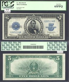 Sergio Sanchez Jr. Currency has this item on Collectors Corner - 1923 $5 Silver Certificates Fr.282 PCGS 65