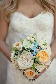 The bridal bouquet will be a clutch of cream hydrangeas, Juliet garden roses, white scabiosa, white ranunculus, O'hara garden roses, light blue tweedia, ivory spray roses, seeded eucalyptus, sage, and dusty miller wrapped in ivory ribbon tied in a loose bow