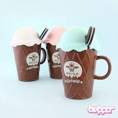 Cute Girlwill Ice Cream Mug with Spoon