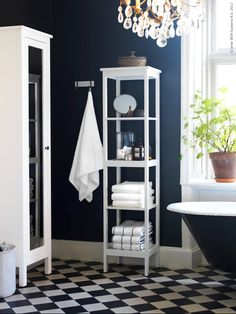 HEMNES Bookcase, white stain, 19 Sustainable beauty from sustainably-sourced solid pine, a natural and renewable material that gets more beautiful with each passing year. Combine with other products in the HEMNES series. Dark Blue Bathrooms, Bathroom Inspiration, Shelving, Bathroom Tile Designs, Blue Bathroom Decor, White Bathroom, Hemnes, Blue Walls, Bathroom Decor