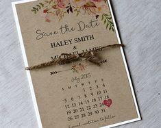 Rustikale Aquarell Floral speichern das Datum von LoveofCreating