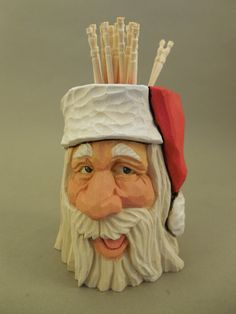 Hand Carved Wood Santa Toothpick Holder by CarvingsbyTony on Etsy, $50.00