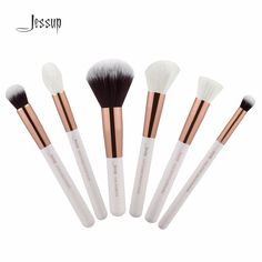 Jessup Pearl White/Rose Gold Professional Makeup Brushes Set Make up Brush Tools kit Buffer Paint Cheek Highlight T224