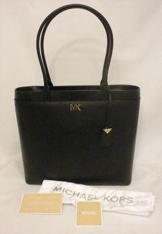 519d9456e196 Michael Kors Maddie Large NS Pocket Tech Zip Tote Shoulder Bag Black  Leather NEW #MichaelKors