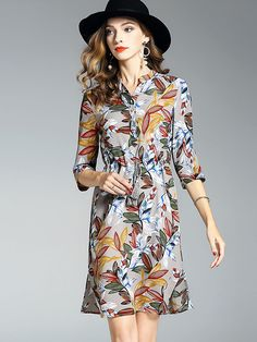 Chic Stand Collar 3/4 Sleeve Floral Print Dress from DressSure.com #dresssure #fashion #dresses #HighQuality