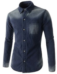 (KELS1212-BLUE) Mens Slim Dot Pattern Chest Pocket Padded Washing Long Sleeve Shirts
