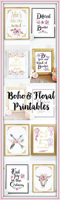 Watercolor Boho U0026 Floral Inspirational Gold Typography Prints. Printable  Wall Art.