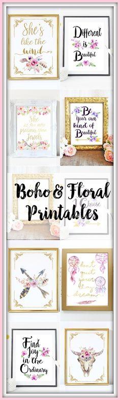 Watercolor boho & floral inspirational gold typography prints. Printable wall art.