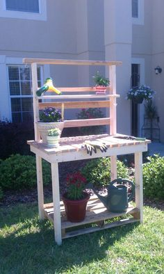 Potting Bench made from reclaimed wood and a couple of 2x4's!!