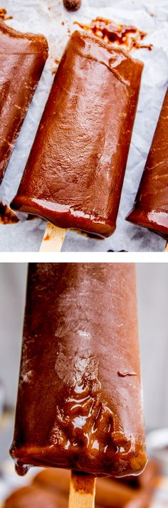 These super chocolate-y fudge pops from The Food Charlatan are made from 3 simple ingredients: chocolate pudding, sugar, and Almondmilk. They have the perfect consistency!