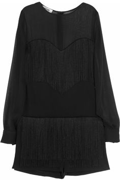 Moschino Cheap and Chic | Fringed crepe and silk-chiffon playsuit |
