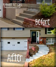 Split-level front steps remodel My Ugly Split-level - Landscaping front yard Split Level Remodel Exterior, House Exterior, Exterior Brick, Front Yard, Level Homes, Front Stairs, Split Level Remodel, Exterior Makeover, Split Foyer