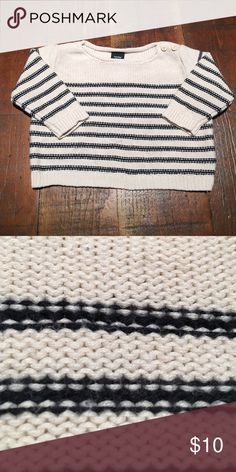 Gap Cotton Striped Sweater. Sporty boat neck sweater is the perfect layering piece. Buttons at neck for easy off and on. GAP Shirts & Tops Sweaters