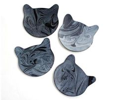 Marbled Leather Cat Coasters - Gift Guide - Shop Uncovet $27