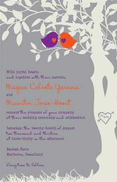 Custom Listing for Jabubags - Purple, orange and gray love birds in a tree wedding invitations. Different colours though. Etsy.com