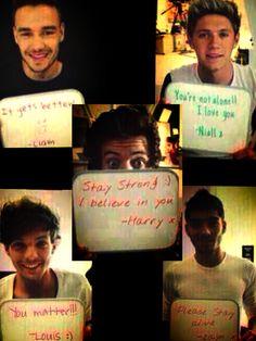 STAY STRONG!>>>they help me threw everything!! Love u boys!!<<< don't forget Demi Lovato!!!:)