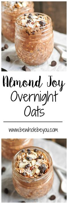 Almond Joy Overnight Oats take breakfast to a new level. Gluten free and dairy free options make this recipe a great choice for everyone in the family! Breakfast And Brunch, Breakfast Recipes, Breakfast Ideas, Breakfast Smoothies, Paleo Breakfast, Breakfast Dishes, Brunch Recipes, Drink Recipes, Almond Joy