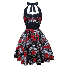 Rockabilly Dress Skull Black Red Roses Halloween Gothic PinUp Vintage 1950s Psychobilly Lolita Steampunk Swing Prom Party Plus Size Clothing (49.90 USD) by LadyMayraClothing
