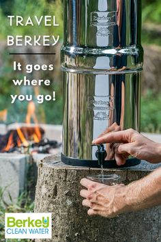 The Travel® Berkey is a portable water purification system.   It absolutely goes where you go! Gallon Of Water, Water Sources, Water Purification, Water Filter, Drinking Water, Filters, Water Bottle, How To Apply, Fuentes De Agua