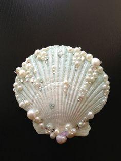 Sea Foam Seashell Hair Clip by LandlockedM3rmaid on Etsy, $25.00