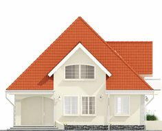 Proiect-casa-cu-Mansarda-18011-fatada1 Home Building Design, Building A House, Modern Tv Room, Bungalow Style House, House Design Pictures, Dream Home Design, Facade House, Design Case, My House