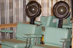 Hair dryers at the beauty shop... Mom went once a week!