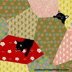 Cotton Quilt Fabric Quilt Gate Japan Neko Cat Patchwork Red - product images  of