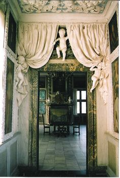 Plaster work is absolutely beautiful from the cherubs to the flowing curtains. Ceiling too.