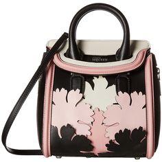 Alexander McQueen Mini Heroine (Black/Geisha Pink/Silver White)... ($1,528) ❤ liked on Polyvore featuring bags, handbags, black, satchel purse, hand bags, mini satchel, silver purse and white hand bags