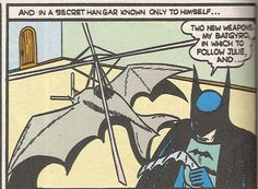 """Tec 31 - The """"Bat"""" gadgets begin. First Bat Gyro designed to resemble a flying bat in the sky.  Later we will see Matt Wagner poke fun at all the """"Bat"""" gadgets in his Mad Monk graphic novel."""