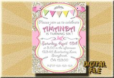 Birthday invitation Girl Birthday Invitation by DigitalitemsShop
