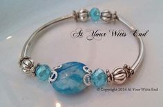Blue Stretchy Bracelet metal bracelet blue by AtYourWittsEnd, $15.00