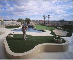 Golf around the pool! Golf around the pool! Home Putting Green, Outdoor Putting Green, Golf Room, Golf Green, Golf Simulators, Public Golf Courses, Golf Practice, Golf Training, Golf Tips