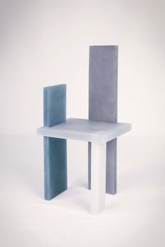 Wonmin Park, Haze Chair (White, Gray and Navy), 2013, lightly coloured resin, h106 l49.5 w43 cm / h41.7 l19.5 w16.9 in, limited edition of 8 + 4 ap © Alix de Rozières | Courtesy Carpenters Workshop Gallery