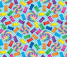 Candy on Gingham fabric by xoxotique on Spoonflower - custom fabric