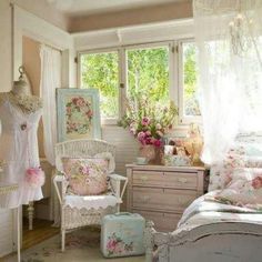 Shabby chic bedroom I love the hardware on the pink dresser.