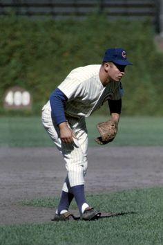 Cubs 3rd Baseman Ron Santo looks like he's expecting a bunt in a 1964 game at Wrigley Field.