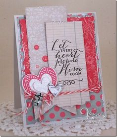 Card by Maureen Plut using Every Heart and Chevron Love from Verve.  #vervestamps