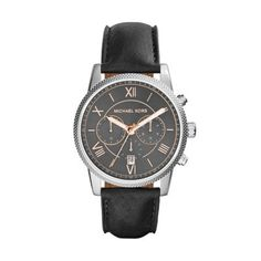 Sale  Michael Kors Black Hawthorne Watch This classic-meets-modern Michael Kors' timepiece features a sleek gunmetal dial, rose gold-tone stainless steel indexes and a luxe leather strap. Click to View Our Michael Kors 2-Year Warranty