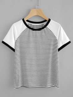 SheIn offers Contrast Raglan Sleeve Striped Ringer Tee & more to fit your fashionable needs. Teenage Girl Outfits, Girls Fashion Clothes, Women's Fashion Dresses, Jumpsuits For Women, Blouses For Women, Casual Outfits, Cute Outfits, Crop Top Shirts, Crop Tops