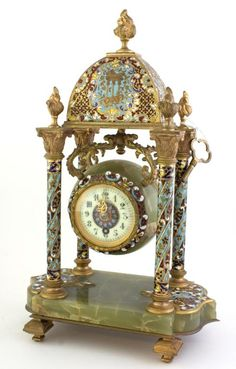 ANTIQUE ONYX & CLOISONNE FRENCH MANTLE CLOCK 1900s