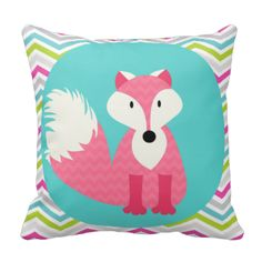 Kids who love foxes and bright, fun designs will love this cute fox throw pillow featuring a pink chevron stripe fox on an aqua circle with a chevron striped gray, white, green, aqua, and hot pink background. Perfect for her bedroom, the playroom, nursery, or recreation room, this fox pillow is sure to be a great addition! #fox #chevron #stripes #cute #kids #animals #wild #animals #forest #animals foxes